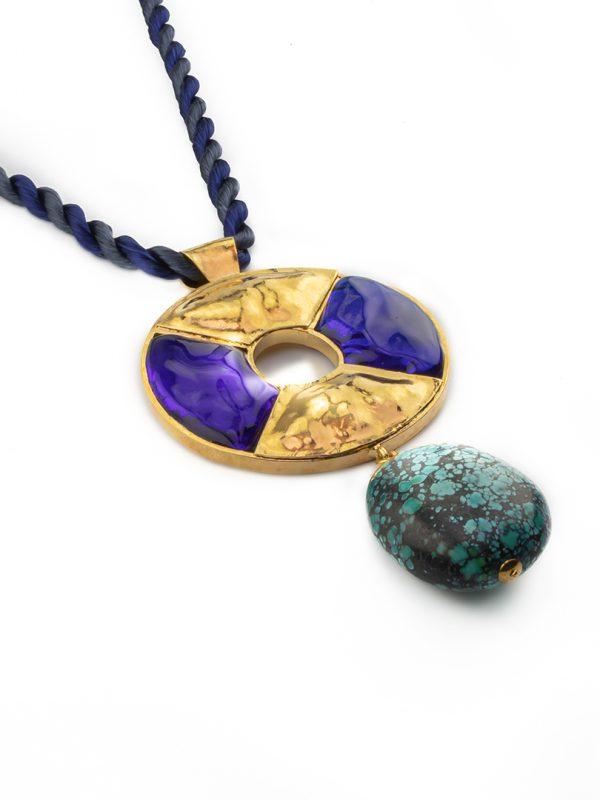 Loulou de la Falaise 24K Gold Turquoise Totem Pendant Necklace