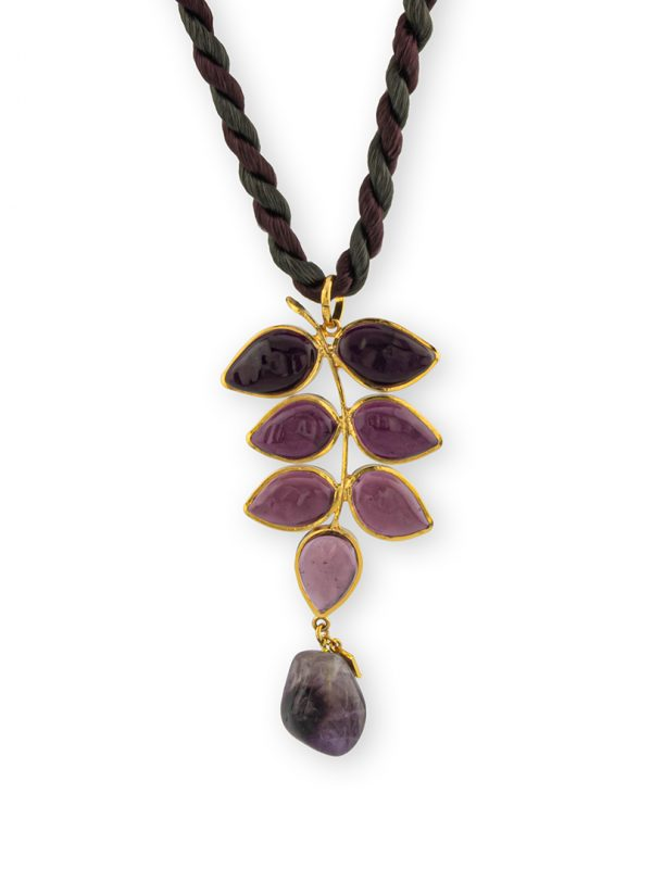 Loulou de la Falaise 24K Gold Amethyst Leaf necklace
