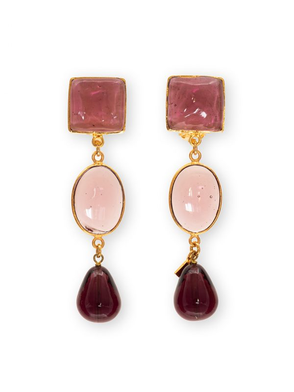 LouLou de la Falaise 24K gold Crystal and Stone Earrings