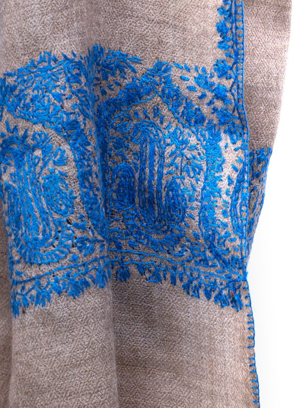 This most beautiful hand-woven embroidered shawl, in pure pashmina cashmere with hand sewn silk embroidery is fully embroidered with intricate, closely sewn, dense silk embroidery.