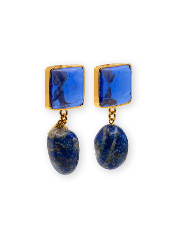 24K Gold-Plated Pave Clip Lapis Lazuli Earrings