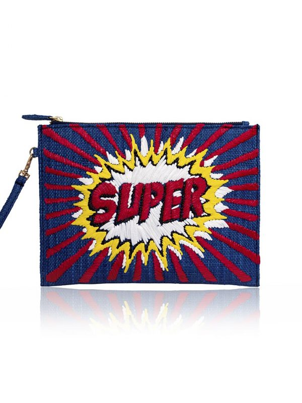 As featured in the SS '20 collection, this intricately embroidered pouch features the word Super