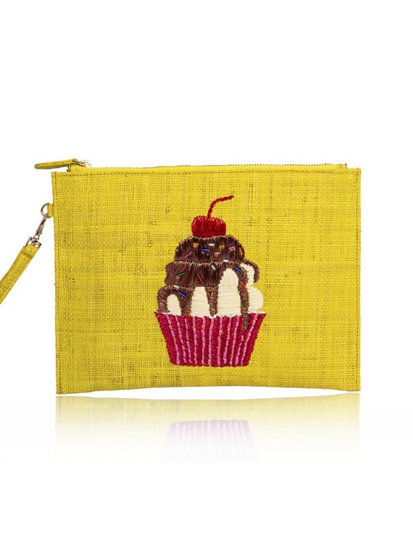 As featured in the SS '20 collection, this intricately embroidered pouch features a cupcake motif