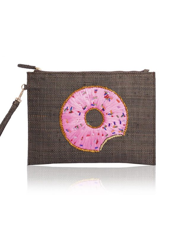 his intricately embroidered pouch features a doughnut motif